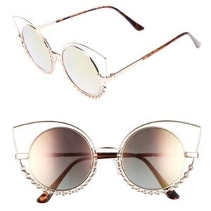 Nordstrom 55Mm Studded Gold Round Sunglasses